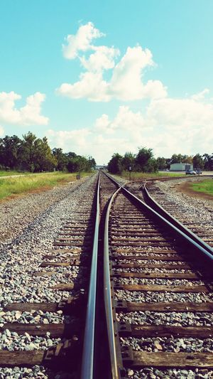 For my dear friend Valerie. Railroad Track Rail Transportation Cloud - Sky Sky Day Outdoors No People Parallel Tree Rural Scene Nature Eyemphotography My Original Photo Popular Photos EyeEm Nature Lover Texas Double Rails Connected By Travel Lost In The Landscape