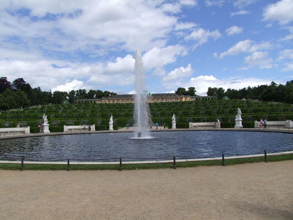 Sanssouci Palace & Gardens (completed 1747) Architecture Blue Sky White Clouds Built Structure Composition Distant View Famous Place Fountain Fountain German Grass Monument No People Outdoor Photography Potsdam Ripples In The Water Sanssouci Spray Statues Tourism Tourist Attraction  Tourist Destination Travel Destinations Traveling Water Water Fountain