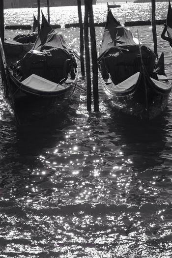 Boats moored in sea