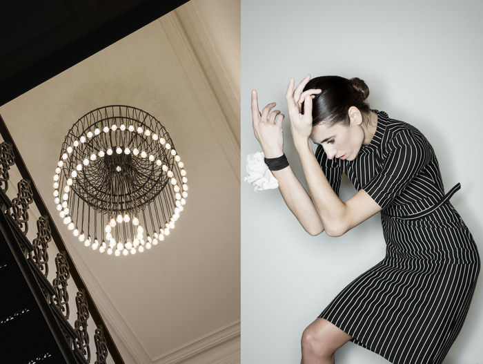 Pleiades Lighting Chandelier Corridor Black Dress Stripes Pattern Brunette Girl  Stairs Interior Lighting Dancer Women Fashion Collage Indoors  Linas Was Here