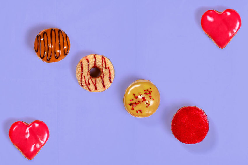 Donuts Close-up Colored Background Day Directly Above Donut Food Food And Drink Freshness Heart Heart Shape Indoors  Love No People Red Studio Shot Sweet Food Valentine's Day - Holiday
