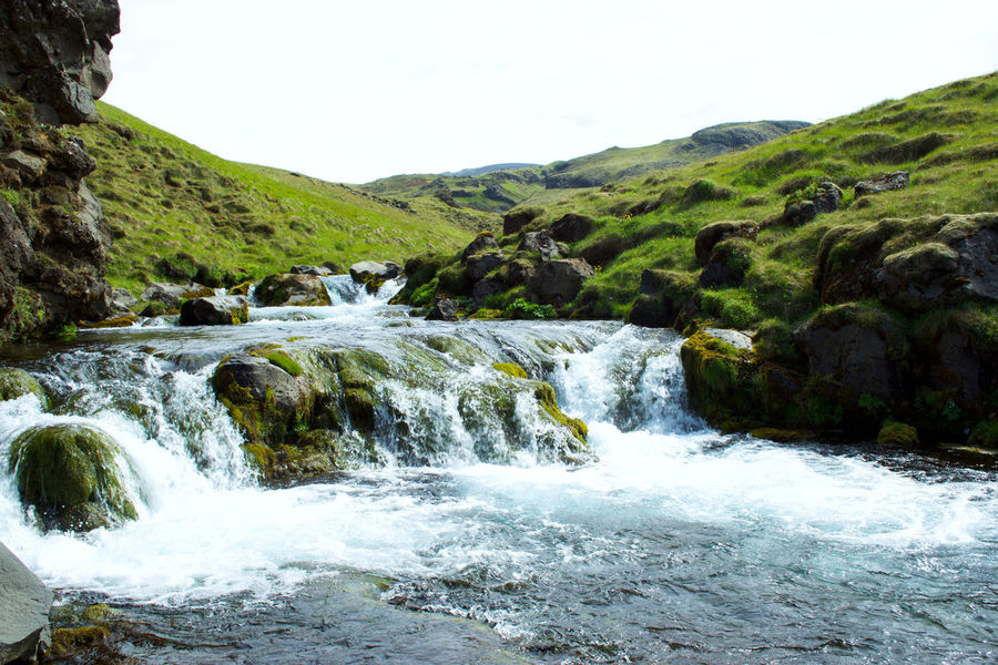 Beauty In Nature Bubbles Clear Sky Creek Day Grass Green Iceland Idyllic Landscape Moss Motion Mountain Nature Outdoors River Rock Rocks Scenics Sky Stream Tranquil Scene Tranquility Water Waterfall The Great Outdoors - 2017 EyeEm Awards Been There.