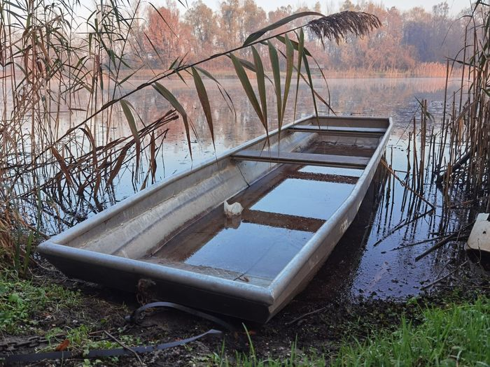 Abandoned boat on field by lake in forest