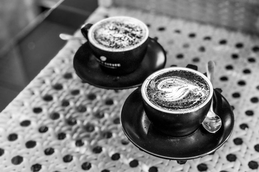 Afternoon coffee and hot chocolate Monochrome Light And Shadow Black And White Drink Refreshment High Angle View Focus On Foreground Table Close-up No People Indoors  Food And Drink Coffee - Drink Cup Coffee Cup Coffee Mug Hot Drink