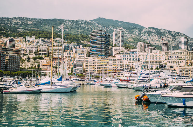 Monaco City Cityscape Harbor Mode Of Transportation Moored Nautical Vessel Port Sailboat Transportation Water Waterfront Yacht