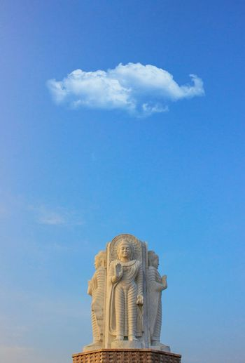 Low angle view of statue against sky at gomti nagar