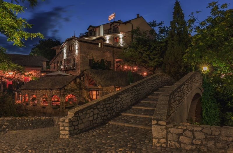 Old town Mostar Bosnia And Herzegovina Mostar Old Town Night Lights Nightphotography Architecture Built Structure Building Exterior Steps And Staircases Tree Staircase Railing Steps Sky House Outdoors No People Residential Building Nature Day