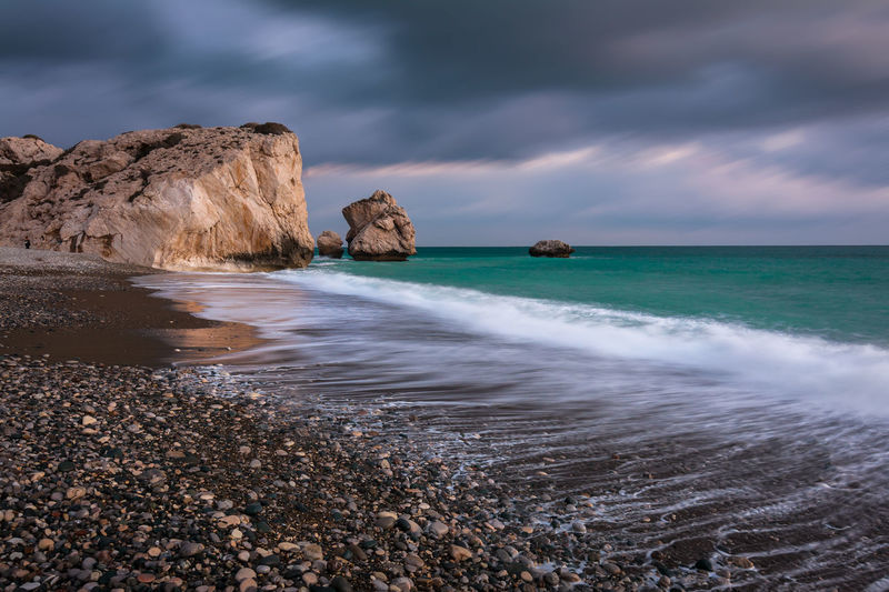 Cyprus Cyprus Nature Petra Tou Romiou Aphrodites Rock Beach Beauty In Nature Cloud - Sky Cluds Day Horizon Over Water Landscape Landscape_photography Nature No People Outdoors Rock - Object Sea Seascape Sky Sunset Water