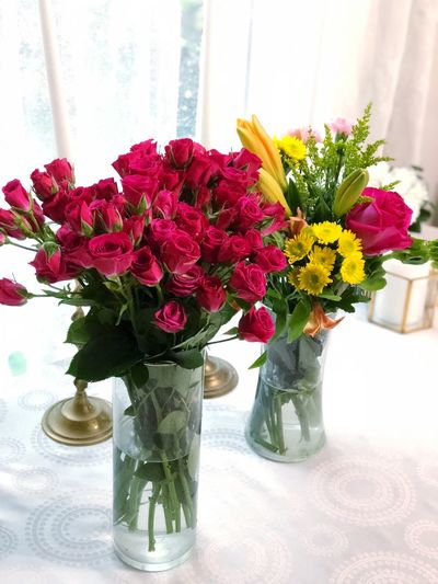 Mother's Day Flowering Plant Flower Vase Plant Flower Arrangement Arrangement Freshness Vulnerability  Flower Head Fragility Table Indoors  Beauty In Nature Nature Bouquet No People Decoration Bunch Of Flowers Rose - Flower Glass - Material