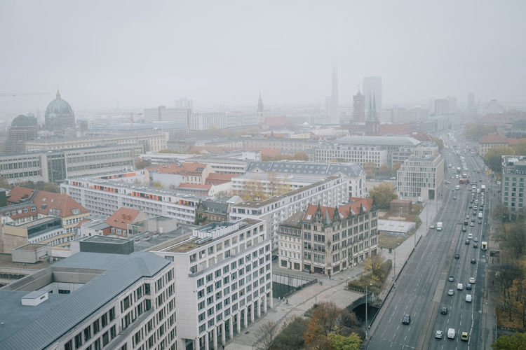Berlin Aerial View City Berlin Berliner Ansichten Building Exterior Built Structure Architecture No People Building Outdoors Cityscape High Angle View Sky Nature Fog City Life Day Transportation Road Street Travel Destinations Office Building Exterior Skyscraper Smog