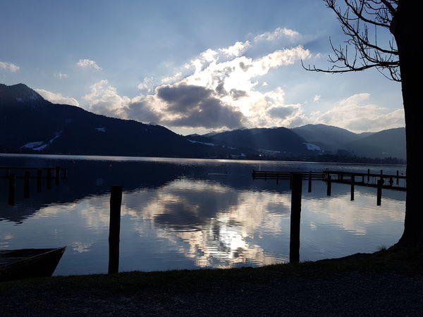Bavarian Sunset Water Mountain Tree Lake Galaxy Reflection Sky Landscape Mountain Range Cloud - Sky
