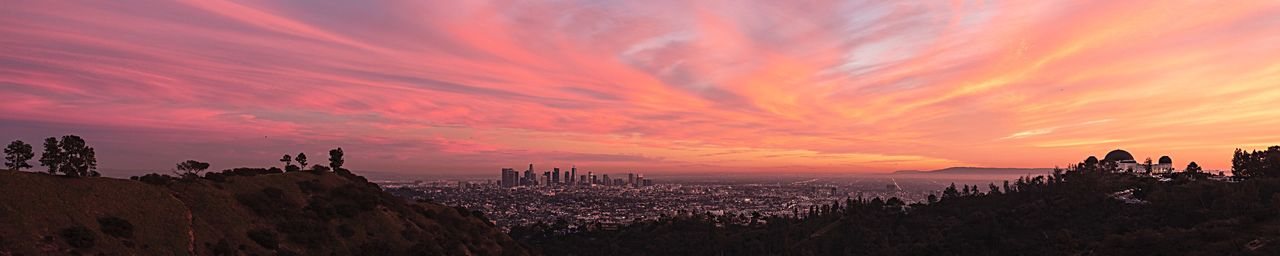 Tonight's sunset. Los Angeles, Griffith Park. 7 foot wide image. Rotate to see it better. Sunset Sky Beauty In Nature Scenics - Nature Panoramic Cloud - Sky Orange Color Building Travel Destinations City Nature Silhouette Landscape Building Exterior Outdoors Architecture Environment Idyllic Tranquility Travel