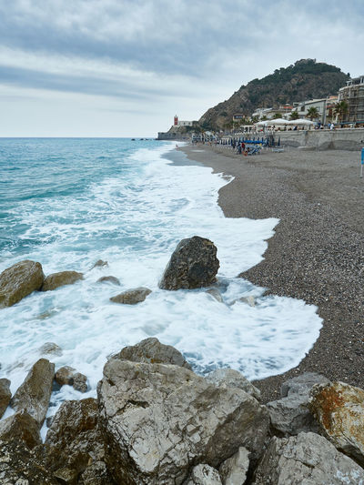 Capo d'orlando sea Capo D'Orlando Sicily Beach Beauty In Nature Cloud - Sky Day Horizon Horizon Over Water Incidental People Italy Land Messina Motion Nature Outdoors Rock Rock - Object Rock Formation Scenics - Nature Sea Sky Solid Water Wave