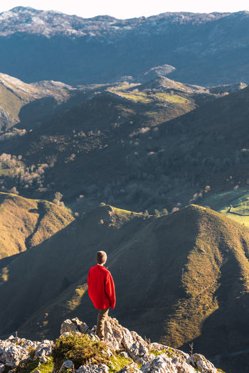 Rear view of man looking at mountain