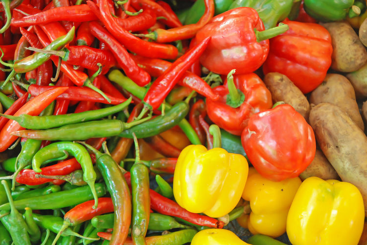 Colorful of vergetable Backgrounds Chili Pepper Food And Drink Freshness Green Chili Pepper Healthy Eating Market Spice Vegetable
