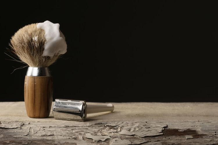 Barber Barbershop Beard Black Background Close-up Depilation Equipment Hygiene Indoors  Indoors  Man Men No People Razor Retro Retro Style Shave Shaver Shaving Shaving Brush Studio Shot Table Vintage Wood Wood - Material