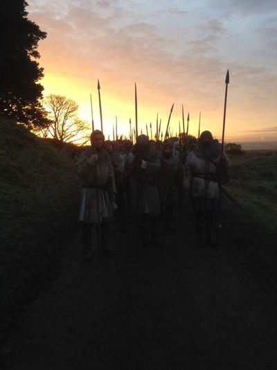 Sunrise army Marching Spear Army Sunrise Sunset Sky Standing Men Real People Togetherness Full Length
