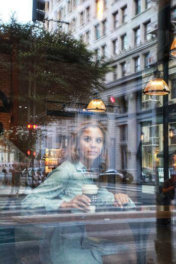 #losangeles #portrait City Architecture One Person Built Structure Portrait Street Reflection Cafe Women