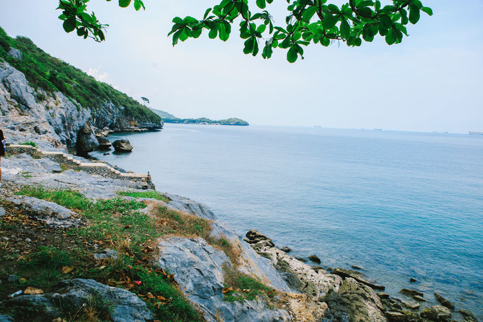 SICHANGISLAND Thailand Beauty In Nature Day Green Color Growth Land Nature No People Outdoors Plant Rock Rock - Object Rocky Coastline Scenics - Nature Sea Sichang Sky Solid Thailandtravel Tranquil Scene Tranquility Tree Water