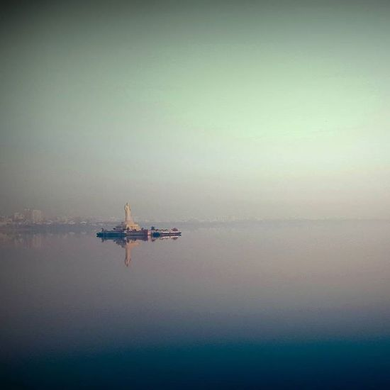 To wander is to be alive! Goodmorning 6am Solotrips Hussiansagar Foggymorning HelloHyderabad Tankbund Buddhastatue Omgyehmeraindia