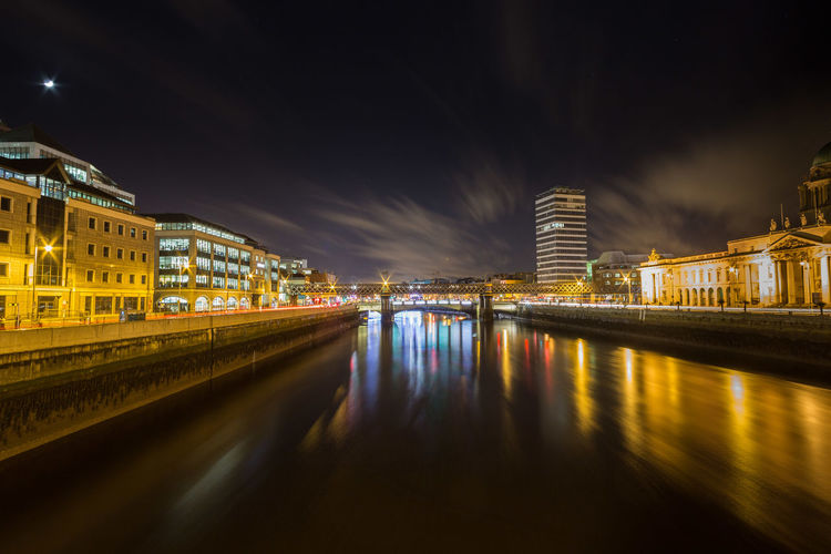 The river Liffey in Dublin at night. Architecture Building Exterior Built Structure City Dublin, Ireland Flowing Flowing Water Liffey Liffeybridge Liffeyriver Long Exposure Night Night Lights Nightphotography Reflection Reflections In The Water River Sky Water Waterfront