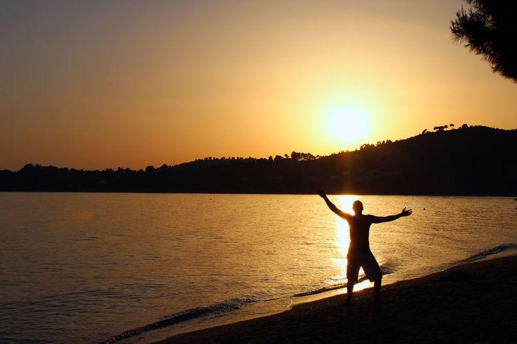 When the Sun Goes Down! Beach Beauty In Nature Greece Orange Color Sea Skiathos Vromolimnos Skiathos_island Sun Sunlight Sunset First Eyeem Photo