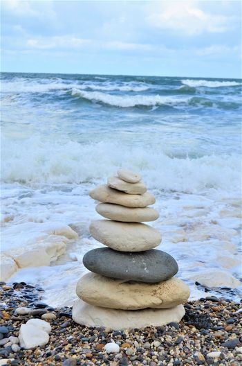 Rock Balance Solid Land Sea Stack Stone - Object Water Zen-like Pebble Beach Horizon Over Water Stone Rock - Object Tranquility Nature Beauty In Nature Sky No People Outdoors Stack Rock
