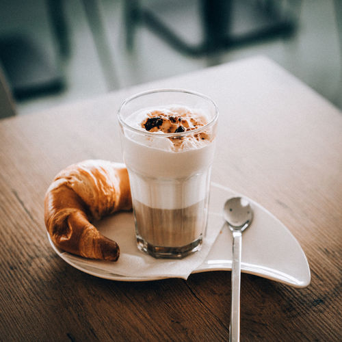 Food And Drink Drink Food Glass Coffee Refreshment Table Coffee - Drink Drinking Glass Freshness Household Equipment Indoors  Spoon Ready-to-eat Sweet Food Still Life Kitchen Utensil No People Indulgence Eating Utensil French Food Latte Temptation Breakfast