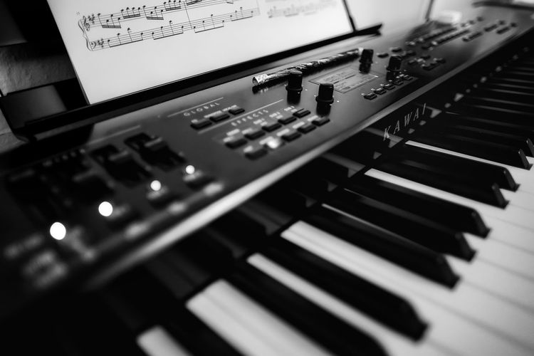 Black & White E-Piano Klaviatur MP7 Piano Arts Culture And Entertainment Blackandwhite Close-up Control Control Panel Day Indoors  Kawai Keyboard Klavier Mixing Music Musical Instrument No People Recording Studio Sound Mixer Sound Recording Equipment Tastatur Technology