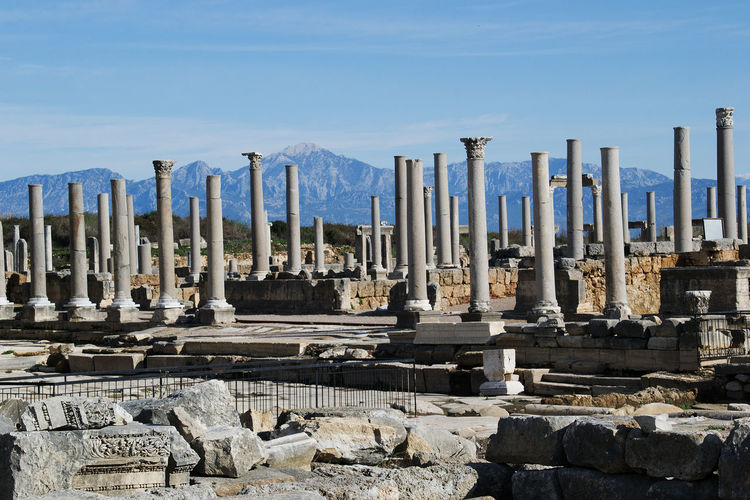 Ancient Ancient City Architectural Column Area Antaly Blue Cloud Column Day Golden Perge History Monument No People Outdoors Sky Stone Material Taurus Mountains The Past Tourism Tranquility Travel Destinations View To Taurus Mount