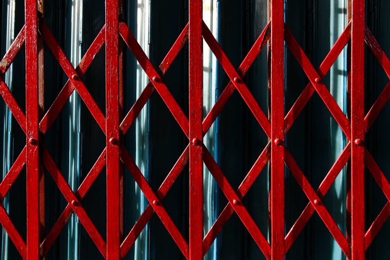 Full Frame Shot Of Red Metal Gate