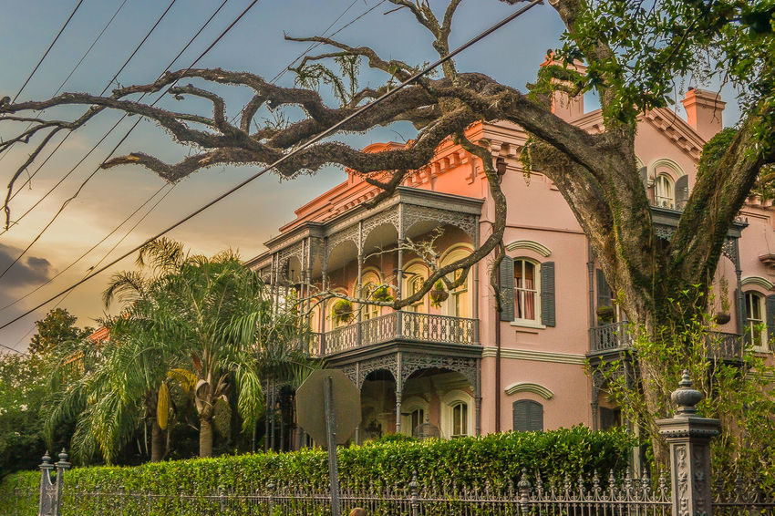 Garden District, New Orleans Historical Building New Orleans, LA Pink Pink House Balcony Fence Forged Iron Garden District Oak