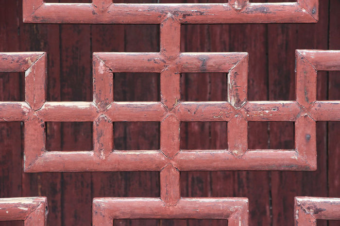 Brown Chinese Window Close-up Day Focus On Foreground Metal No People Outdoors Pattern Red Rusty Window Wood - Material