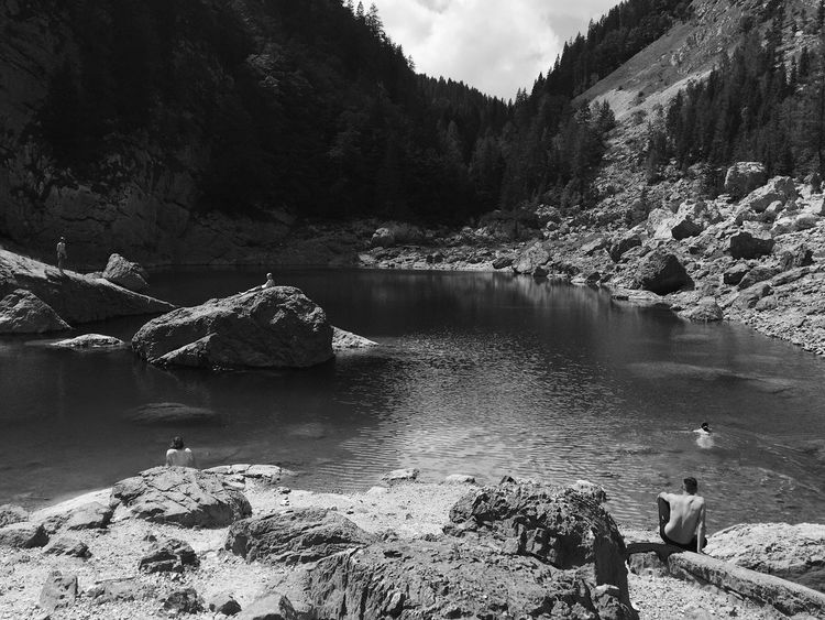 Relaxing at the first Triglav Lake - Black Lake, at an elevation of 1294 metres above sea level, Slovenia, Jul, 2017. Triglav Lakes Slovenia IfeelsLOVEnia Lake Swimming Relaxing Nature Tranquility Beauty In Nature Mountain Outdoors Scenics Water