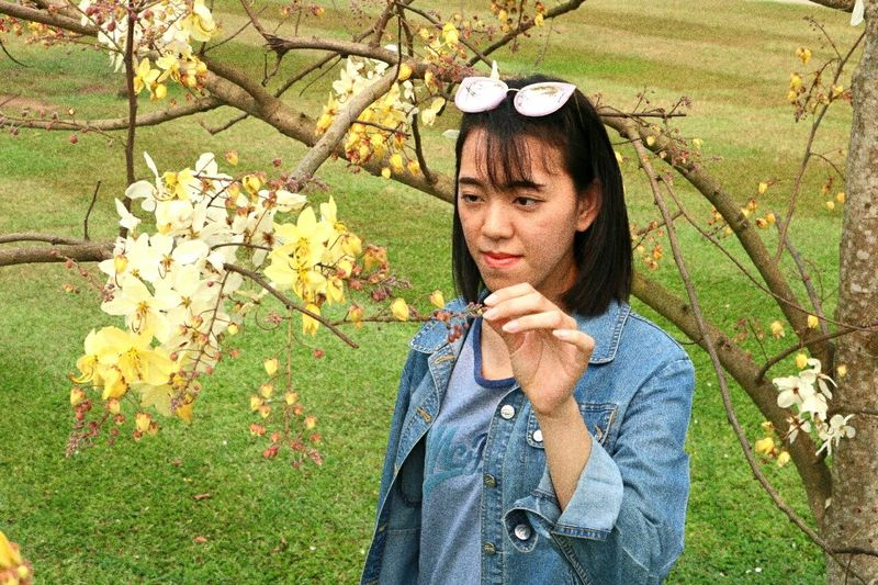 Tree Flower Leaf Young Women Park - Man Made Space Autumn Grass Casual Clothing First Eyeem Photo