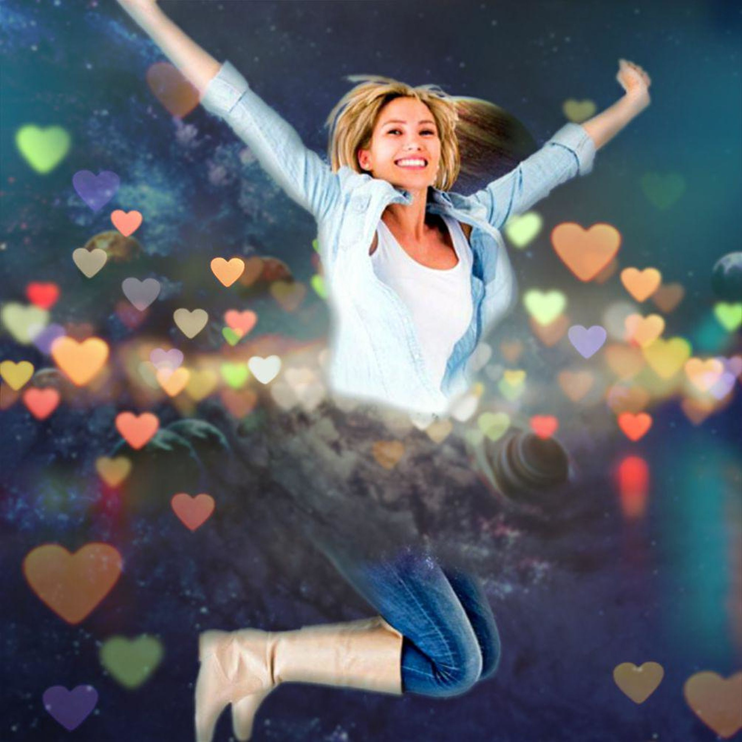 human arm, limb, happiness, one person, emotion, arms raised, human limb, hair, body part, human body part, young adult, smiling, women, fun, casual clothing, young women, blond hair, carefree, positive emotion, arms outstretched, beautiful woman, hairstyle, excitement