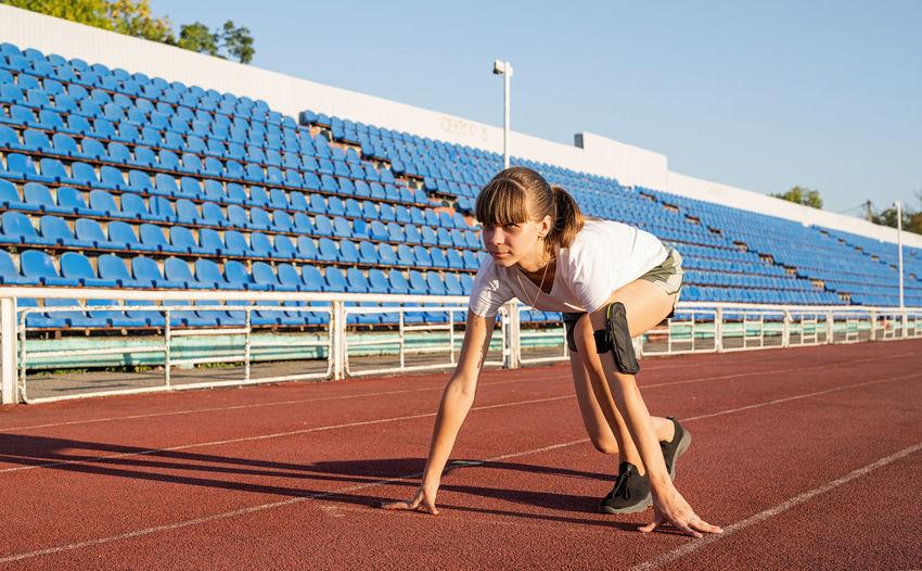 Full length of teenage girl running