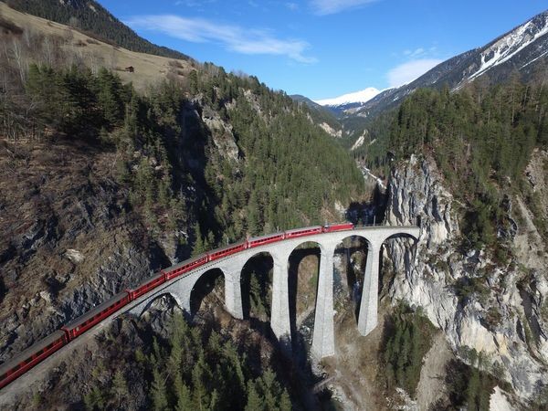 Rhätische Bahn Transportation Landscape Bridge - Man Made Structure Mountain Connection Outdoors Sky Curve Switzerland Railroad Track Landwasser Viadukt  rhaetischebahn Nature Dji DJI Mavic Pro filisur First Eyeem Photo Glacierexpress