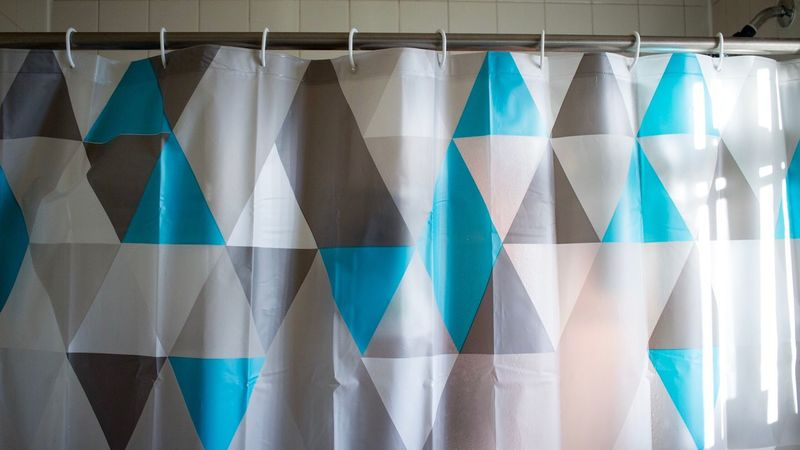 Curtain Textile No People Backgrounds Multi Colored Hanging Blue Indoors  Day Close-up Shower Bathroom