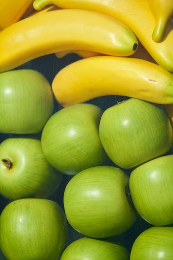 Artificial Fruit Green Apples Artificial Bananas Curved  Granny Smith Apple Plastic Yellow