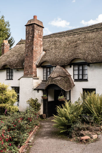 Quintessential white washed, thatched English cottage in Devon. Architecture Building Building Exterior Built Structure Cloud - Sky Cottage Day English House Nature No People Old Outdoors Plant Residential District Roof Sky Thatch Thatched Thatched Cottage Thatched Roof The Past Tree White Washed Window