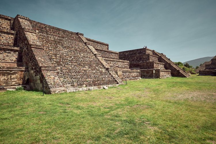 Ancient Civilization Architecture Building Building Exterior Built Structure Day Field Grass History Land Low Angle View Nature No People Old Old Ruin Outdoors Plant Pyramid Ruined Sky The Past Travel Destinations