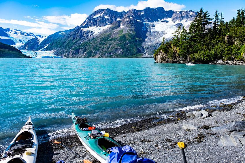 Camping Exploring Prince William Sound, AK Sea Kayaking Travel Adventure Beauty In Nature Mountain Range Nature Nautical Vessel Outdoors Scenics - Nature Sky Southeast Alaska Transportation Travel Destinations Water