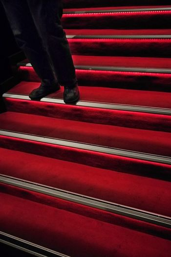 Low section of man standing on red steps