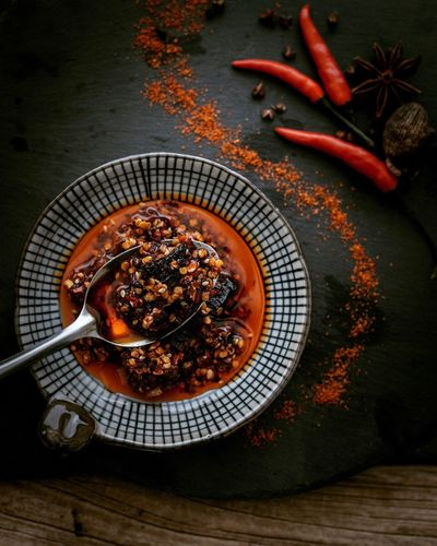 Spoon Spoon On Table Pepper Red Chillisauce Hot Hot Hot ☀☀☀ Chilli Food Food Photography Chinese Traditional Food Chillisauce Food Styling Ready-to-eat Red Color Dish Chinese Food Flavoring Spices Stong Flavor