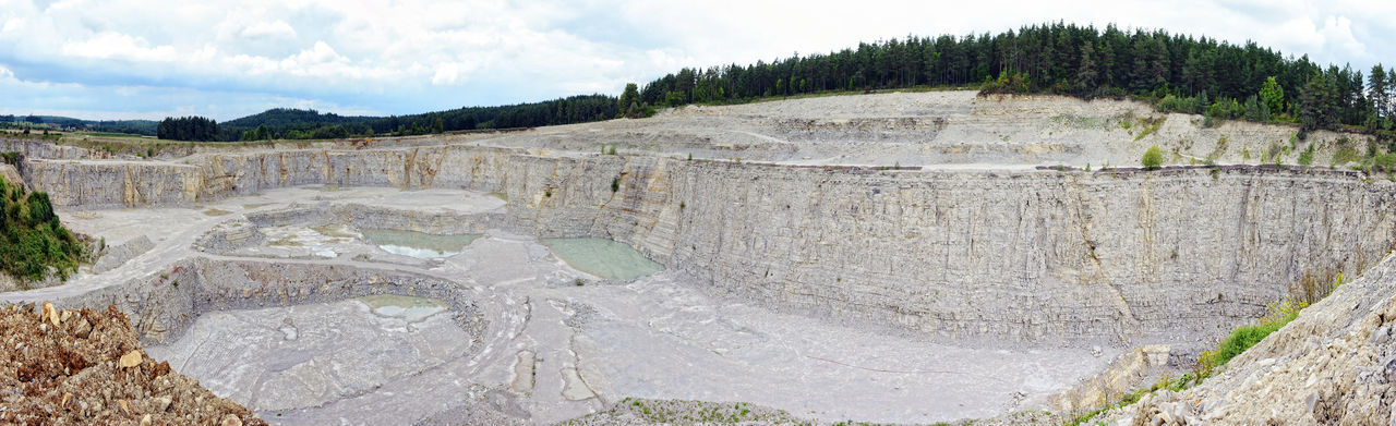 aerial view into a limestone quarry (Germany), sedimentary rock. made of 5 separate images. Aerial Shot Aerial View Industrial Landscape Limestone Mine Mining Mining Industry Open Pit Mine Open Pit Mining Panorama Panoramic Panoramic View Quarry Quarry Rock