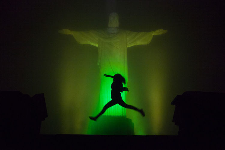 Brazil Cristo Redentor Dance Rio De Janeiro Silhouette America Day Full Length Indoors  One Person People Real People Religion Religious Architecture South America