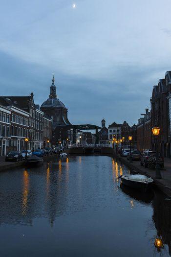 Gracht Leiden Netherlands Zonsondergang
