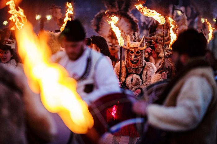 Crazy, hah⁉️ Night Celebration Adults Only Arts Culture And Entertainment Flame Young Adult People Tradition Folklore Balkans Balkans Europe Travel KuKer Kukeri Surva Pernik Outdoors Twilight Unrecognizable People Copy Space Adventure Games Traditional Clothing Ritual Masked People,