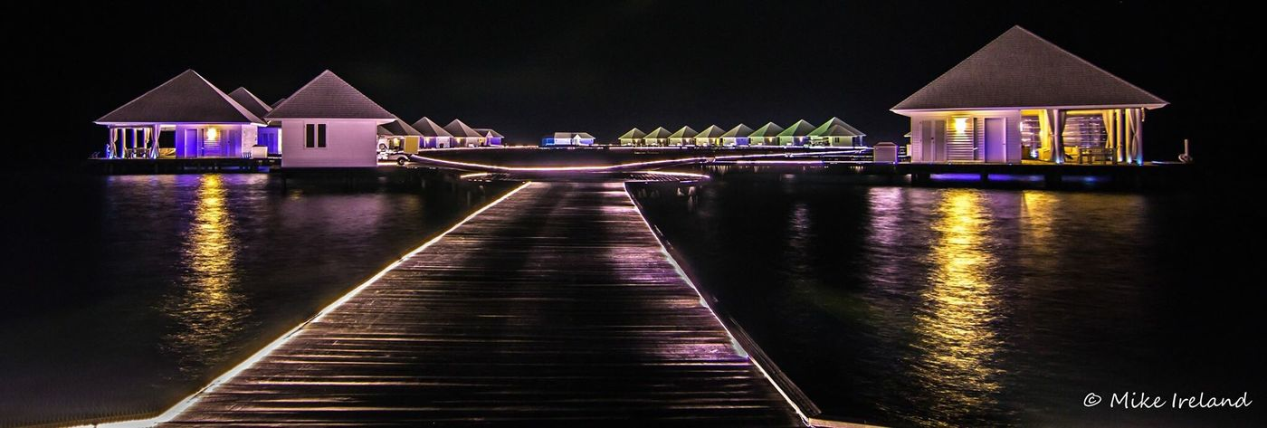 Diamonds Athuruga Water Bungalow, Maldives Water Built Structure Architecture Night Illuminated Building Exterior Outdoors No People Sky Eyeemphotography EyeEmNewHere EyeEm Best Shots